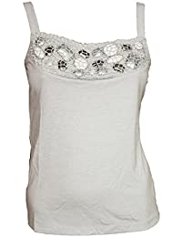 NEW LADIES EX CHAIN STORE GREY FLORAL EMBELLISHED TOP SIZES 10-16