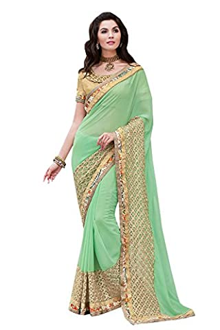 PCC Eye-catching Embroidered Pallu Saree in Mint Green Color 70955