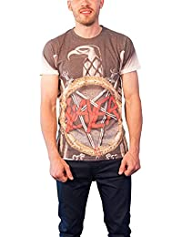 Slayer Mens T Shirt Sub Dye Silver Eagle Anarchy Band Official Slim Fit