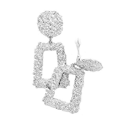 Schmuckanthony Hoernel. Statement Große Leichte Trendige Kreolen Creolen Ohrclips Clips Clip On Ohrringe Silber mit Motiv 7 cm lang.