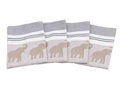 myHomery Geschirrhandtücher mit modernen Motiven im praktischen 4er Set aus 100% Baumwolle Elefant - Schlamm | 4er-Set - 50 x 70 cm