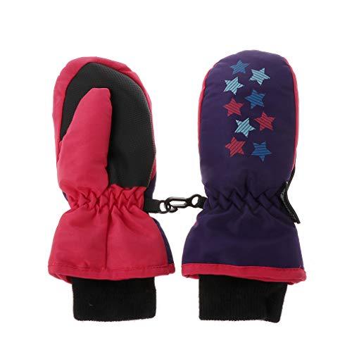 ECMQS Star Muster Kinder Winterhandschuhe, Thermo Warm Handschuhe Atmungsaktive Fausthandschuhe Kinderhandschuhe Winddicht Ski Fäustlinge Pink Schwarz Baby Jungen Mädchen 4–9 Jahre