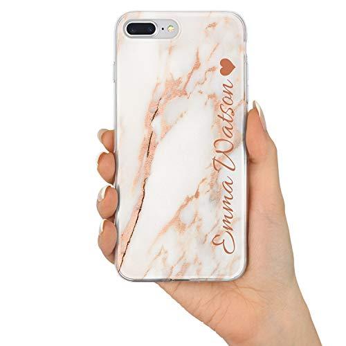 TULLUN Rose Gold Marmor Marble Personalisiert Name Initialen Monogramm Brauch Custom Schutzhülle aus Hartplastik Handy Hülle für iPhone - Name und Herz - für iPhone XS Monogramm Rose