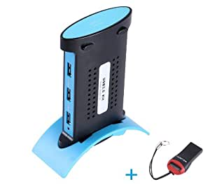 Tomorrowtop Super Speed USB 3.0 Kit 4 Ports Hub 5Gbps mit USB 3.0 Kable & Power Kable Docking Design (Mit USB 2.0 Micro SD T-Flash TF M2 Kartenleser)