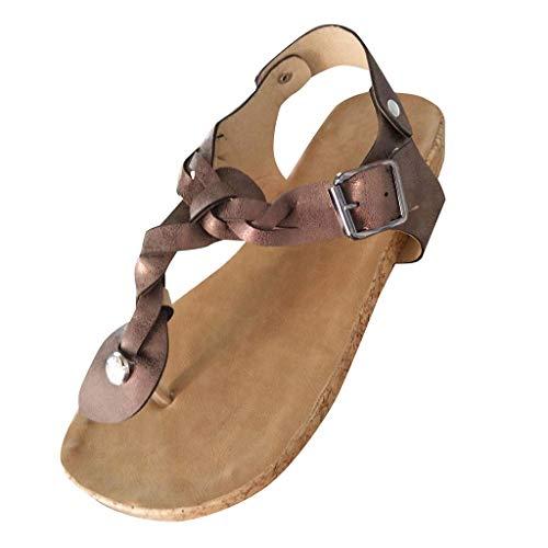 Damen Sandalen Flach Fußbett Schuhe Pantoletten Elegant Zehentrenner Plateauschuhe Bequeme Kork Flip Flops Sommerschuhe (EU:39, Braun)