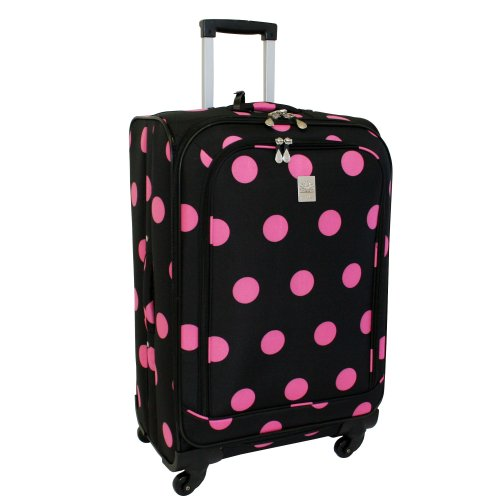 jenni-chan-dots-360-quattro-25-inch-upright-spinner-luggage-black-pink-one-size