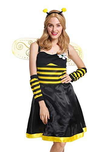 dressmeup W-0057-M/L Kostüm Damen Frauen Flotte Biene Bienchen Wespe Hummel Gr. M/L (Frauen Biene Für Kostüme)