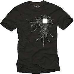 MAKAYA Camiseta Friki Hombre - CPU - Negro M