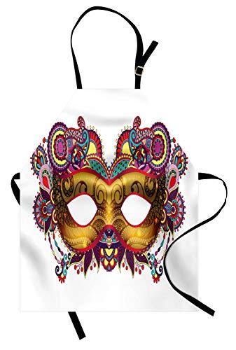 ABAKUHAUS Mardi Gras Kochschürze, Aufwändige Blumendetails auf gelbem Augen-Masken-traditionellem Feiertags-Karnevals-Festival, Farbfest Höhenverstellbar Waschbar Klarer Digitaldruck, Mehrfarbig
