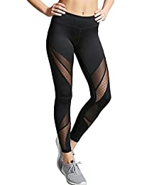 720d7b0deb5bf3 FITTOO Women Mesh Patchwork Fitness Yoga Pants Running Gym Workout Leggings