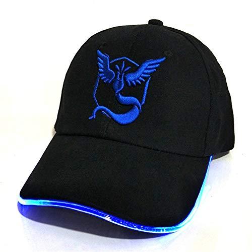 JKYJYJ Led Pokemon Go Baseball Caps 100% Baumwolle Tasche Monster Leuchtenden Hut Für Frauen Herren Cartoon Gestickte Hip Hop Mütze Go to Party (Cap Monster Hiphop)