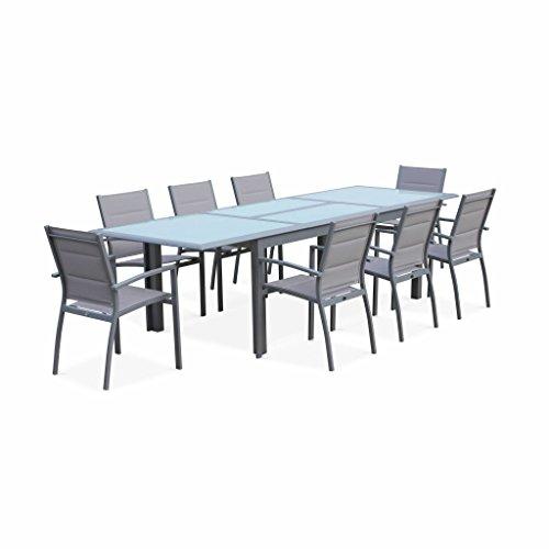 Alice's Garden Salon de Jardin Table Extensible - Philadelphie Gris Clair - Table en Aluminium 200/300cm, Plateau de Verre, rallonge et 8 Fauteuils en Textilène