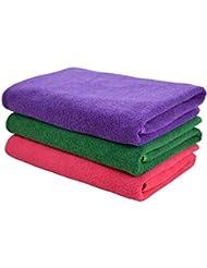 Hope Shine juego de toallas gimnasio microfibra secado rápido toallas deportivas suaves Paquete de 3, 40cm X80cm (Púrpura+Verde+Rojo)
