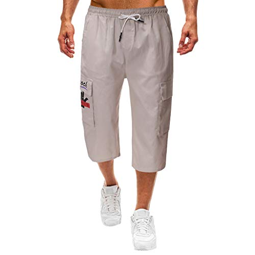 Setsail Herren elastische Taille Combat 3/4 Lange knielange Tasche Shorts Hosen Hosen - Verstellbare Taille Smoking Hosen