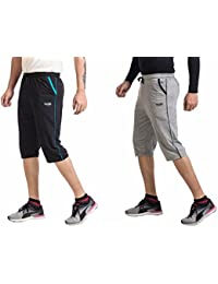 V D Sales™ , Combo Pack Of Black & Grey Three Quarter / 3/4 / Bermuda With 3 Pockets For Casual Wear