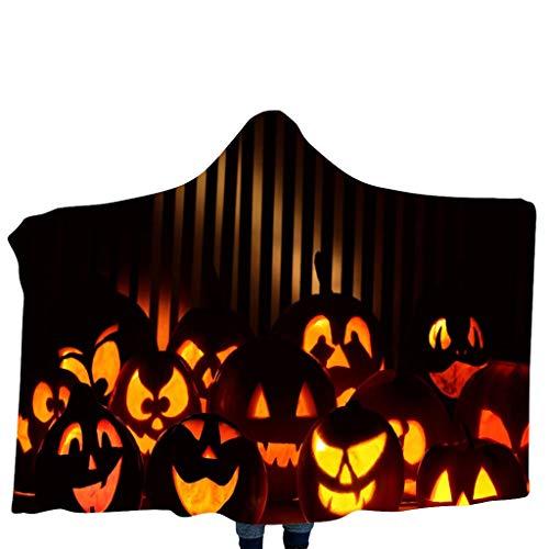 CEFGR Motif de Citrouille D'halloween Couverture à Capuche Châle Couverture de Maison Couverture Pour Enfants Châle à Capuche Echarpe Serpentard Harry Potter