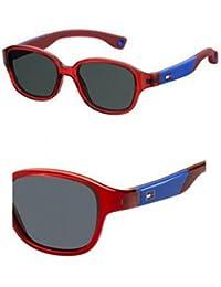 Tommy Hilfiger Unisex-Kinder Sonnenbrille TH 1499/S IR Mvu, Türkis (Azure/Grey Blu), 43