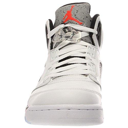 Nike Air Jordan 5 Retro, Chaussures de Sport Homme wht/infrrd 23-lt psn grn-blck