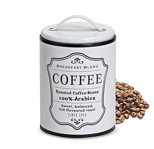 LB H&F 1 x Vorratsdose Dose Küche Deko Metall Blechdose Kaffee (Weiss)