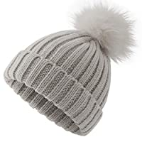 ElifeAcc Warm Winter Fur Hat Knitted Pom Pom Beanie Bobble Hats for Outdoor Camping Ski caps(Grey-Kids)