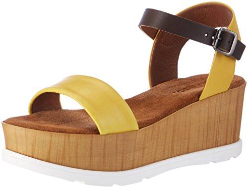 Bianco Sandale MIT Holzplateau, Talons Compensés Femme Gelb (Yellow)