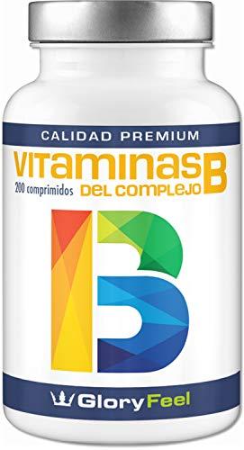 Vitamina B Complex - 200 Comprimidos de Vitamina B - Altamente Concentrada - Complejo Vitamina B las 8 Vitaminas en una Pastilla - B1 B2 B3 B5 B6 B7 (biotina) B9 (ácido fólico) y B12 de GloryFeel