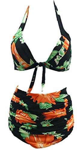 Feoya Damen Zweiteiliger Neckholder Elastischer Hohe Taille Bademode mit Blumen  Verschiedene Farbe Schwarz
