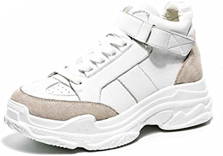LVZAIXI Zapatos Versión coreana Zapatos deportivos de fondo grueso Zapatos pequeños de fuego blanco acogedor (  -