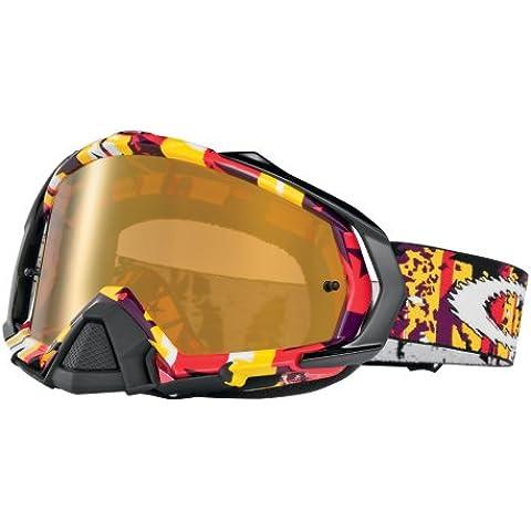 OAKLEY Gafas máscara MAYHEM ROCKED OUT Rojo Amarillo Lente Iridio fuego transparente