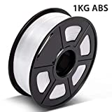 3D Warhorse 3D Filament, ABS 3D Printer Filament 1.75mm, 1KG Spool(2.2lbs),3D Printing Filament Dimensional Accuracy +/- 0.02mm-Bonus with 5M PCL Nozzle Cleaning Filament(White)
