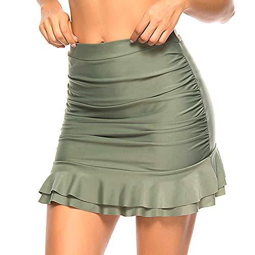 YOFIT Damen Badeanzug mit hoher Taille, Bikini Tankini mit gerüschtem Rüschenrock - Grün - Large -