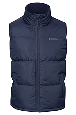 Mountain Warehouse Rock Men's Padded Gilet - Waterproof Fabric with Microfiber Padded Design & Fleece Lined Collar, Adjustable Hem - Ideal for Spring and Autumnal Walks Navy