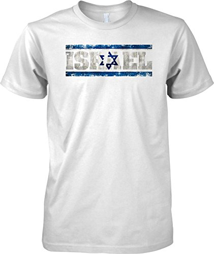 Israel Grunge Country Name Flag Effect - Mens T Shirt - White - Adult Mens 46-48