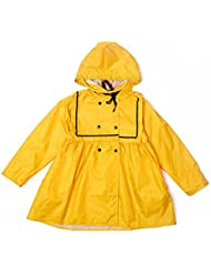 Solid Color Princess Fashion Raincoat Cute Baby Student Enfant Raincoat Girl Poncho (Rose / Jaune)