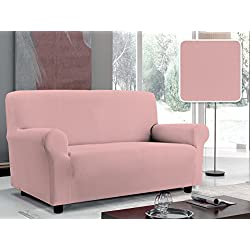 Italian Bed Linen Copridivano Bielastico Sagomato Tessuto a Struttura Liscia, 96% Poliestere, 4% elastometro, Rosa, 4 Posti