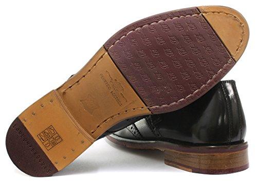 London Brogue Lincoln Monk Uomo Pelle Mocassino Black Leather