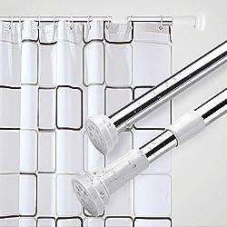 KINLO 50-80CM Drehen verstellbar Duschvorhangstange Duschstange auch als Kleiderstange/Spannstange mit sicherer Halt ohne Bohren in Schrank/Badezimmer