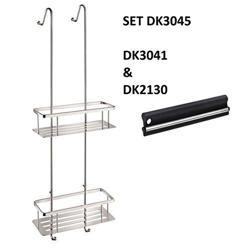 SMEDBO SIDELINE Duschkorb doppelt mit Bodenplatten messing verchromt glänzend Seifenkorb DK3041 mit Abzieher DK2130 SET DK3045 (Smedbo Sideline Bad)