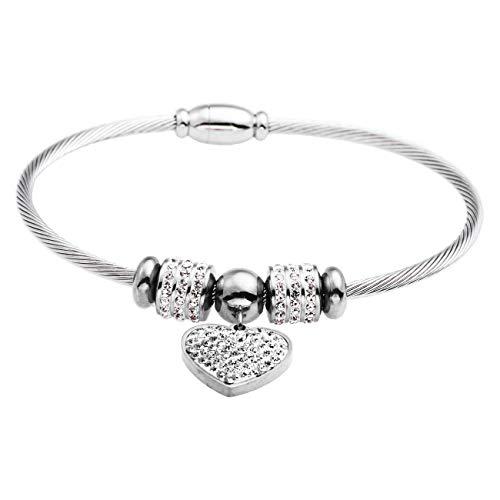 Inscintille charms love bracciale semirigido con beads e charm a cuore in acciaio