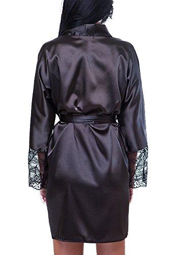Damen Morgenmantel Kimono Nachtwäsche Satin Spitze kurz Schwarz