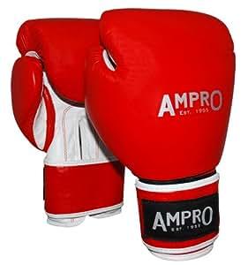 Ampro Kämpfer Leder Sparring Handschuhe - Rot, 16 oz
