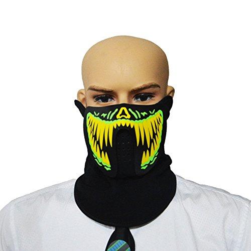 LED Luminous Flashing Gesichtsmaske Party Masken-Voice & Sound-Aktiviert, Atmungsaktiv, Leichtgewicht - Perfekt für Halloween, Partys, Raves, Musikfestivals, Reiten & Snowboarden - Ball-halloween-party Monsters