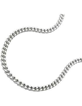 Kette Halskette Panzerkette 2 x diamantiert aus 925 Silber Collier Anhängerkette Länge 60 cm Breite 1,7 mm