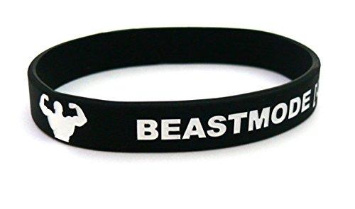 Fitness und Bodybuilding Armband Beastmode On Training Workout Sport Fitness Gym Lifestyle CrossFit Zubehör Accessoire Silikon Gummi Band Sportarmband Unisex Neu