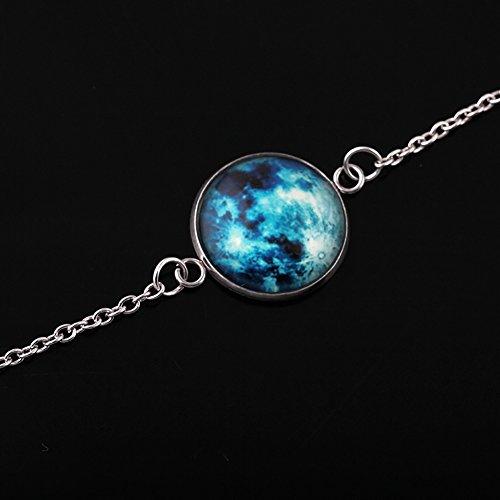 Man9Han1Qxi Glowing Moon Fantasy-Universum Glow in The Dark Glas-Cabochon-Armbandschmuck 4#