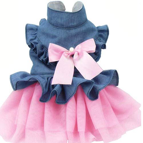 ANIAC Haustier-Denim-Kleid mit niedlicher Schleife, bequemer Weste, Rock, Spitzenbesatz, Tutu, Sommer, Frühling Kleidung für Katzen und Kleine Hunde, Large