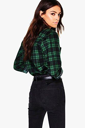 Femmes Noir Eva Check Pocket Shirt Noir