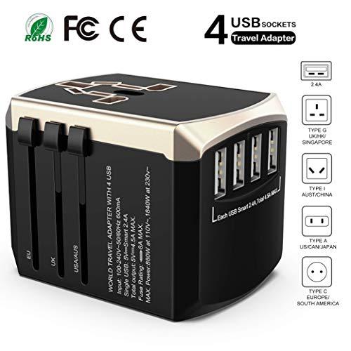 Universal Reiseadapter Weltweit Reisestecker-Luxsure Sicherheit Travel Adapter 4 USB Stecker für 190 Ländern USA UK EU AUS Thailand AC Schnelles Ladestecker Internationale Reiseadapter für Reisen