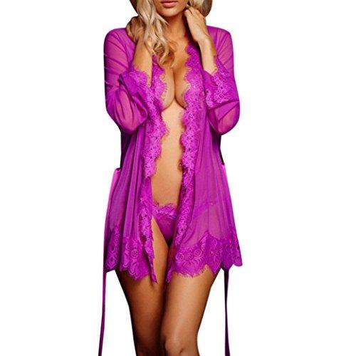 ❤️JiaMeng lencería Mujer lencería Babydoll Ropa de Dormir Ropa Interior de Encaje durmiendo Abrigo + Tanga (XL, Púrpura)
