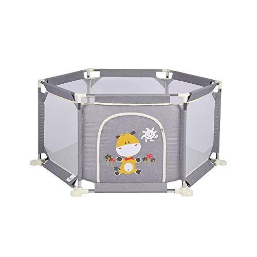 QFFL Laufgitter Baby-Laufstall, Tragbarer Spielplatz für Kleinkinder Sechseck-Mesh Indoor Outdoor Kinder Activity Center - (Blau/Grau/Pink)...